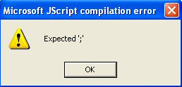 JScript Compilation Error: Expected ';'